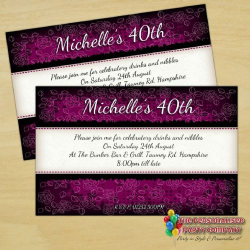 10 Personalised Purple & Black Birthday Party Invitations N174
